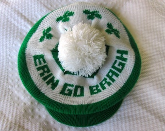 Irish Cap/Tam-Vintage 1980's Golf-St. Patrick's Day-Tam-One Size-Made in U.S.A-100% Acrylic-Excellent Condition