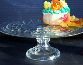 Kings Crown, Clear Pedestal Cake Plate by Tiffin-Franciscan