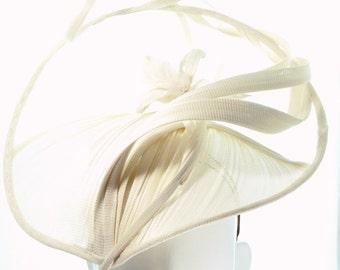Ivory Nouveau Hat - Spring Racing Carnival, Bespoke Headwear