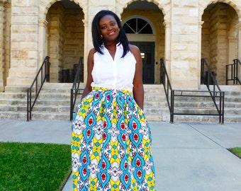 Turquoise & White African Ankara Maxi Skirt, African Clothing; African fashion; African Print; African Skirt;
