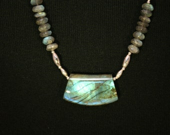Labradorite & Silver Necklace # 565