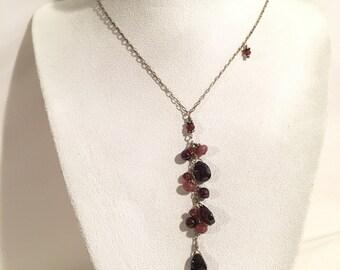 Sterling Silver 925 Garnet Ametyst Gemstone Necklace Jewelry