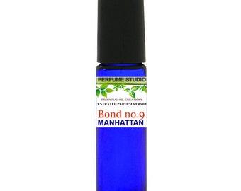 Bond No. 9 Manhattan Custom Blend Premium Perfume Oil Type - Similar Notes to Bond No. 9 Manhattan in a 10ml Blue Cobalt Roller Bottle