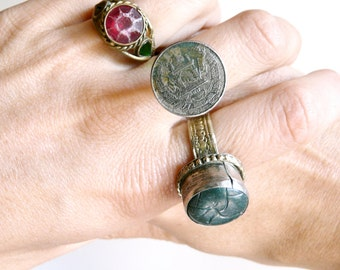 Ring turkoman coin silver metal vintage afghan belly dance gypsy kuchi