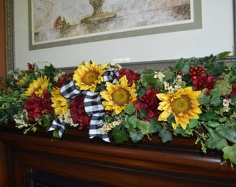 Mantle Swag, Tuscan Sunflower Swag, Rustic Sunflower Swag, Sunflower Swag