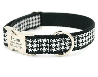 Houndstooth Personalized Dog Collars, Laser Engraved Name Plate, Small Dog, Large Dog,