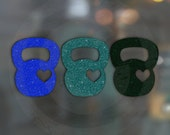 CLOSEOUT <MARINA> Glitter Kettlebell Love Trio DECAL for Crossfit and functional fitness lovers! {{ Blue Aqua & Green }}