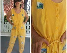 Mango Saffron lady onesie romper flightsuit playsuit / cotton long pants sleeveless / fits women M/L or 8-12