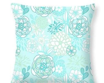 Soft Aqua Floral Throw Pillow Decorative  Pillows