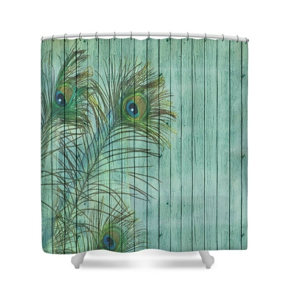 Shower Curtain Turquoise Peacock Weathered Wood By