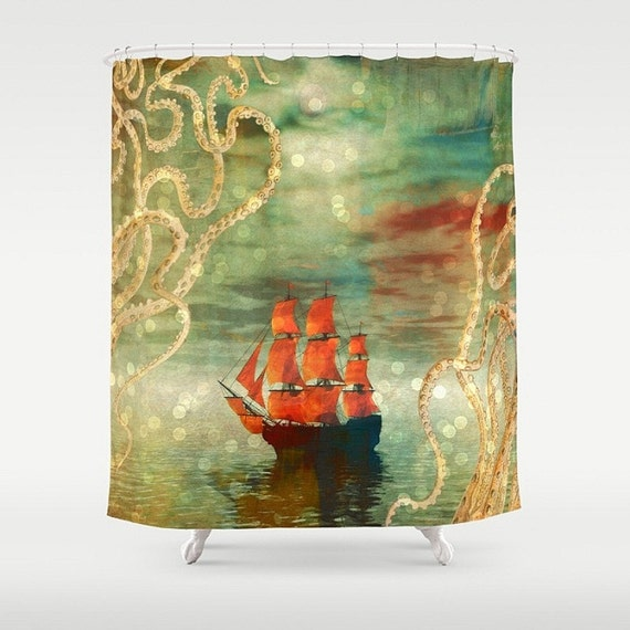 Items similar to octopus tentacle and ship shower curtain for Tentacle shower curtain