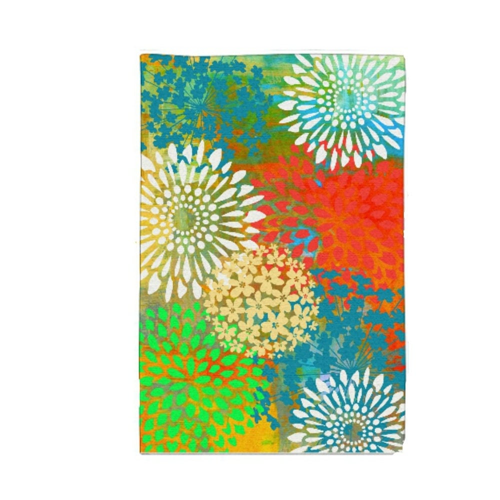 Area rug bright floral burst sweet maria by folkandfunky for Bright floral area rugs