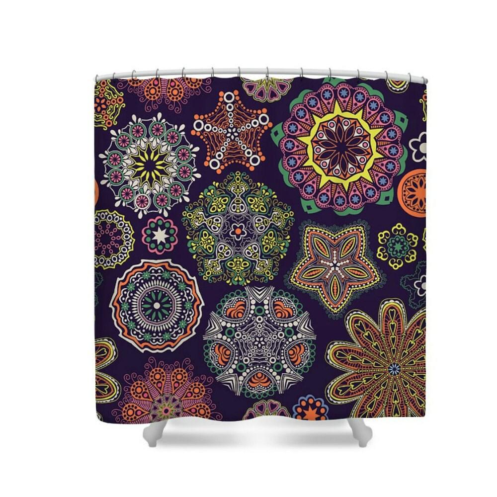 Boho Lace Mandala Pattern Shower Curtain Purple By