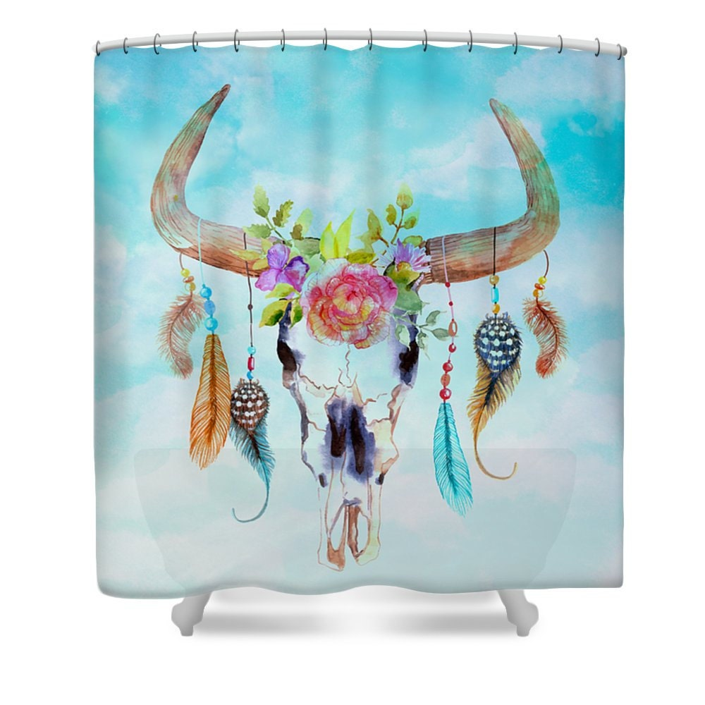 Cow Skull Shower Curtain Soft Teal Colors With By FolkandFunky