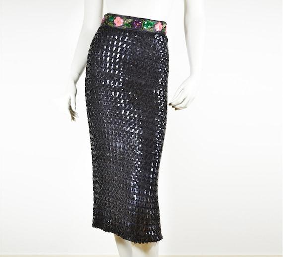 black sequined pencil skirt vtg midi skirt flower
