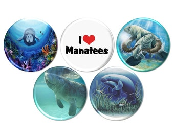 5 Save the Manatee Pinback Buttons or Fridge Magnets, Manatee Endangered Species, I Love Manatee Pins or Magnets, Under Sea Theme - BB2061