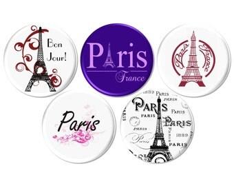 World Showcase Pinback Button, Eiffel Tower Pinback Badge, French Party Favor, Birthday Gift, Ephemera Pinback Button - BB2181