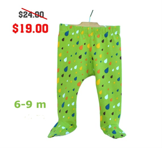Items similar to Gender Neutral Baby Footed Leggings Infant Footie Pants Last Ones! 6-9 month ...