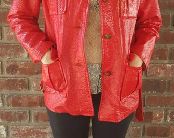 Red Pleather 1960s jacket
