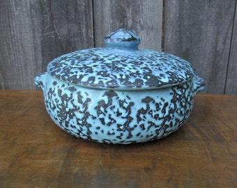 McCoy Blue Brocade Splatter Glaze Casserole Dish