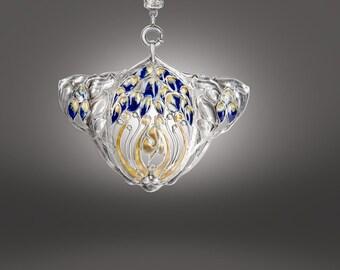 Art Nouveau enameled sterling pendant necklace on black cord