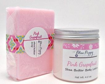 Pink Grapefruit Soap & Lotion Gift Set, Grapefruit Scent Bath Set, Gift for Women, Teacher Gift, Shea Butter Body Lotion