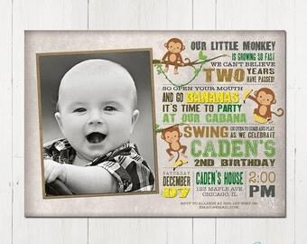Monkey Invitation, monkey birthday invitation, jungle birthday invitation, boy birthday invitation, boy 1st birthday, printable invitation