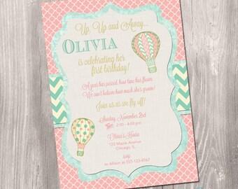 Hot air balloon invitation - Shabby chic invitation - First birthday invitation - vintage hot air balloon invitation - printable invitation