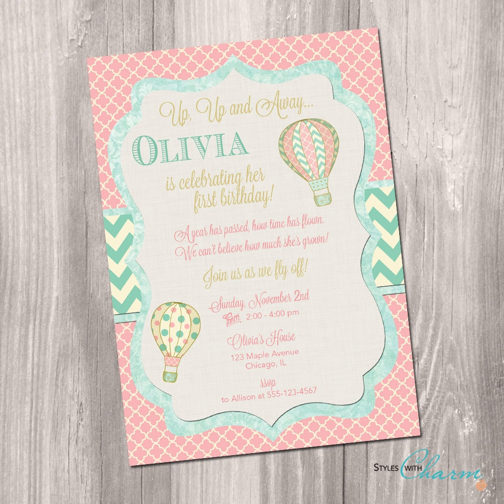 Hot air balloon invitation Shabby chic invitation First