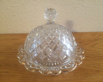 ROUND BUTTER DISH, Press Glass Round Butter Dish, Press Glass Diamond Pattern, Glass Dome and Butter Plate