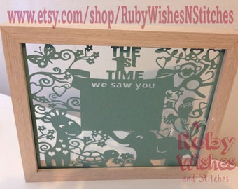 Baby Ultrasound Sonogram Scan Papercut for frame. The First Time We Saw You. Great baby shower gift!