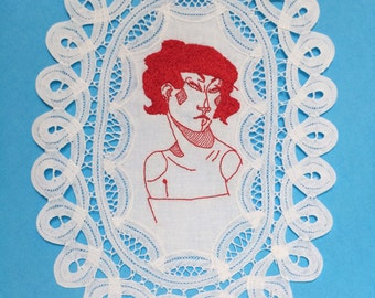 Queen of Diamonds Embroidered Illustration on Vintage Lace