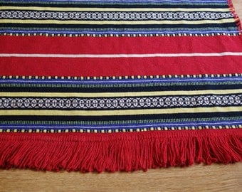 Flat-woven wool rug with fringes tribal striped small area rug Polish carpet CEPELIA bohemian boho kilim red yellow white hand woven ethnic