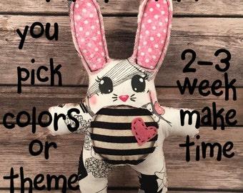 MADE TO ORDER: Bunny Plush, Junky Bunny Doll, Voodoo Bunny, Rabbit Art Doll, Rabbit Doll