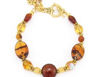 Amber and Honey Czech Glass Beaded Bracelet, Brown and Gold Bracelet, Handmade Bracelet, Handmade Jewelry, Fall Colors, Autumn Colors
