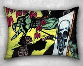 Mad Painter Skull, Canvas Pillow, 20x14 inches, Horror Pillow Case, Comic Book Decor