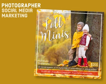 Customizable Fall Mini Session Template - Facebook Instagram Hashtag -  Autumn Minis Marketing Board Template for Photographers IG1004