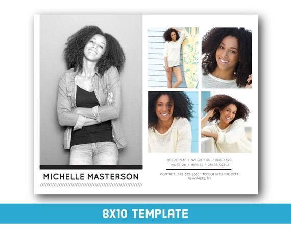 Customizable digital model comp card 8x10 fashion forward for Free comp card template