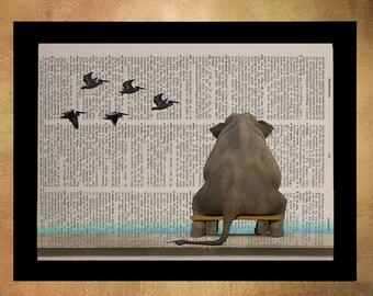 Elephant Dictionary Art Print Pelicans Birds Whimsical Humorous Animal Wall Art Home Decor Vintage da983