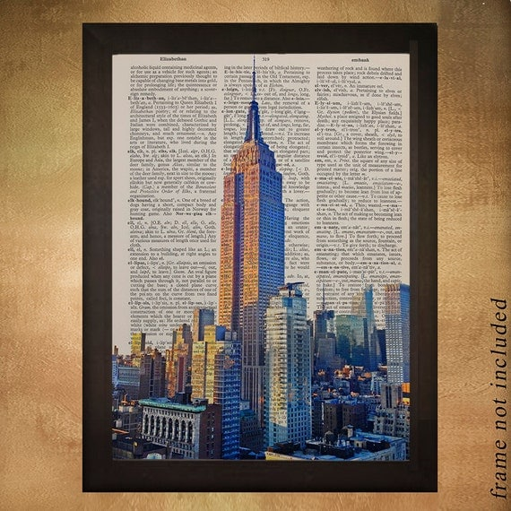 New york city empire state building dictionary art print nyc for Building dictionary