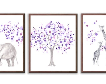 Elephant Nursery Art, Nursery Art for Girls, Purple and Gray Nursery, Elephants and Giraffes, Watercolor Nursery Painting - S020W