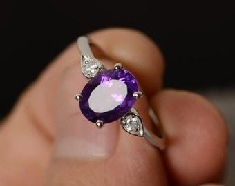 Natural Amethyst Ring Engagement Ring Purple Gemstone February Birthstone Oval Cut Amethyst Ring