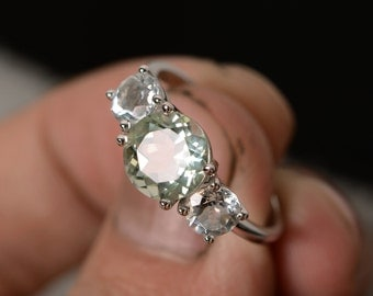 Natural Green Amethyst Ring Three Stone Ring Gemstone Sterling Silver Ring Anniversary Ring