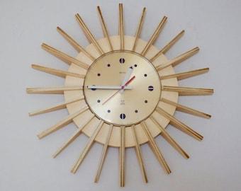Retro Vintage 1960's Smiths Sunburst Wall Clock Mid Century