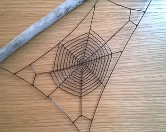 Spider web mounted to driftwood.
