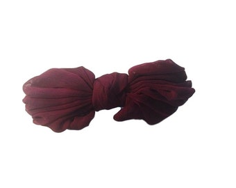 Ann Vuille Burgundy Silk Bow Vintage Hair Clip