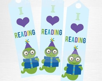 Blue Green Bookworm Birthday Party Printable Bookmarks Kids Party Favor Book Party