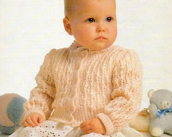 Vintage Wendy Peter Pan 4ply Lace Cardigan Baby Knitting Pattern PDF