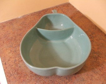 Vintage 1950s Turquoise Trenton Pottery Pear-Shaped Divided Serving Dish