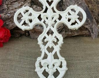 Wall Cross, Fleur De Lis cast iron cross, Fleur De Lis cross, Cast Iron cross, Iron Fleur De Lis cross, 6 year iron anniversary gift